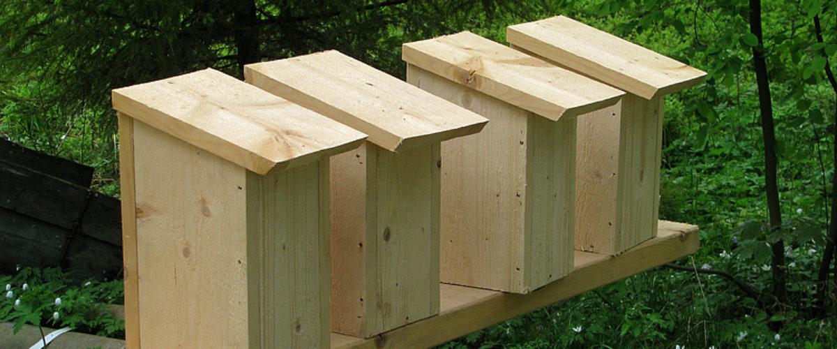 Birdhouses on a row